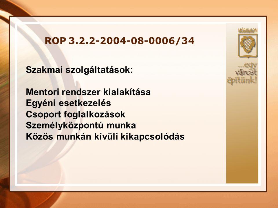 ROP 3.2.2-2004-08-0006/34 Szakmai szolgáltatások: Mentori rendszer kialakítása. Egyéni esetkezelés.