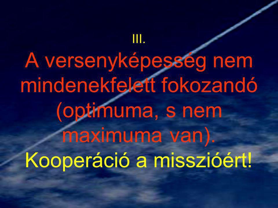 III. A versenyképesség nem mindenekfelett fokozandó (optimuma, s nem maximuma van).