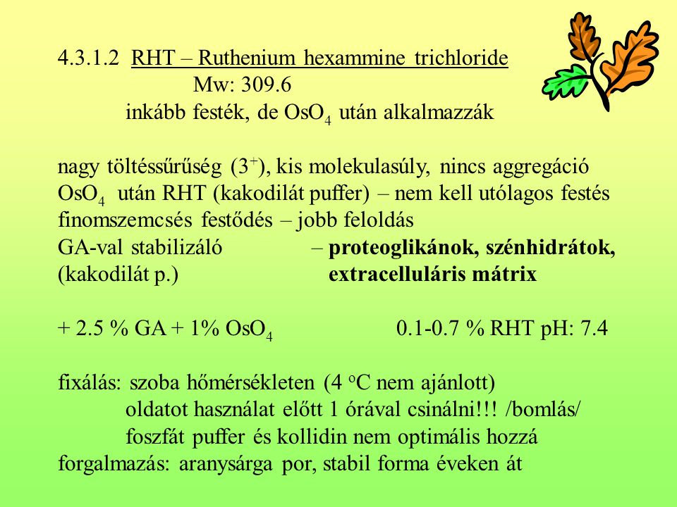 4.3.1.2 RHT – Ruthenium hexammine trichloride