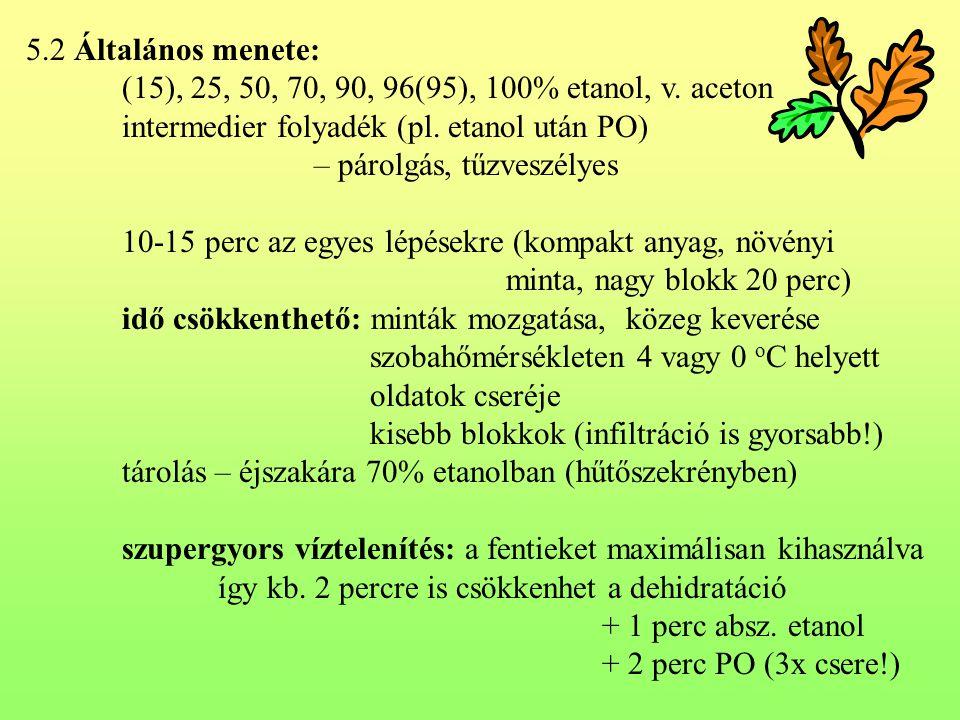 5.2 Általános menete: (15), 25, 50, 70, 90, 96(95), 100% etanol, v. aceton. intermedier folyadék (pl. etanol után PO)
