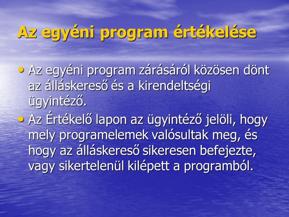 Az egyéni program értékelése