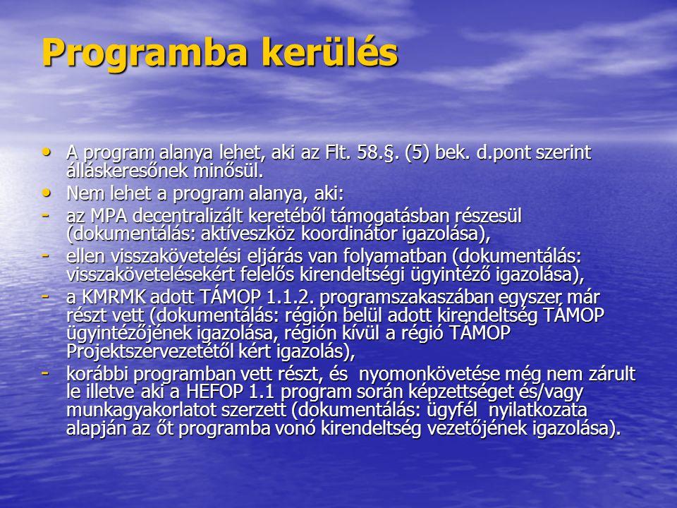 Programba kerülés A program alanya lehet, aki az Flt. 58.§. (5) bek. d.pont szerint álláskeresőnek minősül.