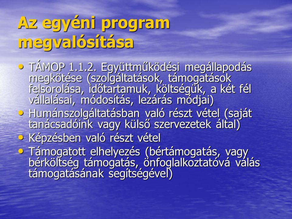 Az egyéni program megvalósítása