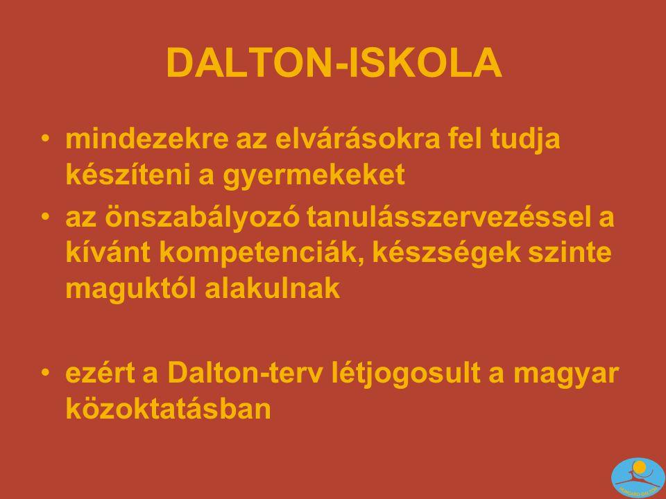 DALTON-ISKOLA mindezekre az elvárásokra fel tudja készíteni a gyermekeket.