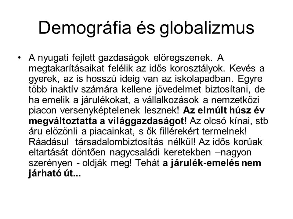 Demográfia és globalizmus