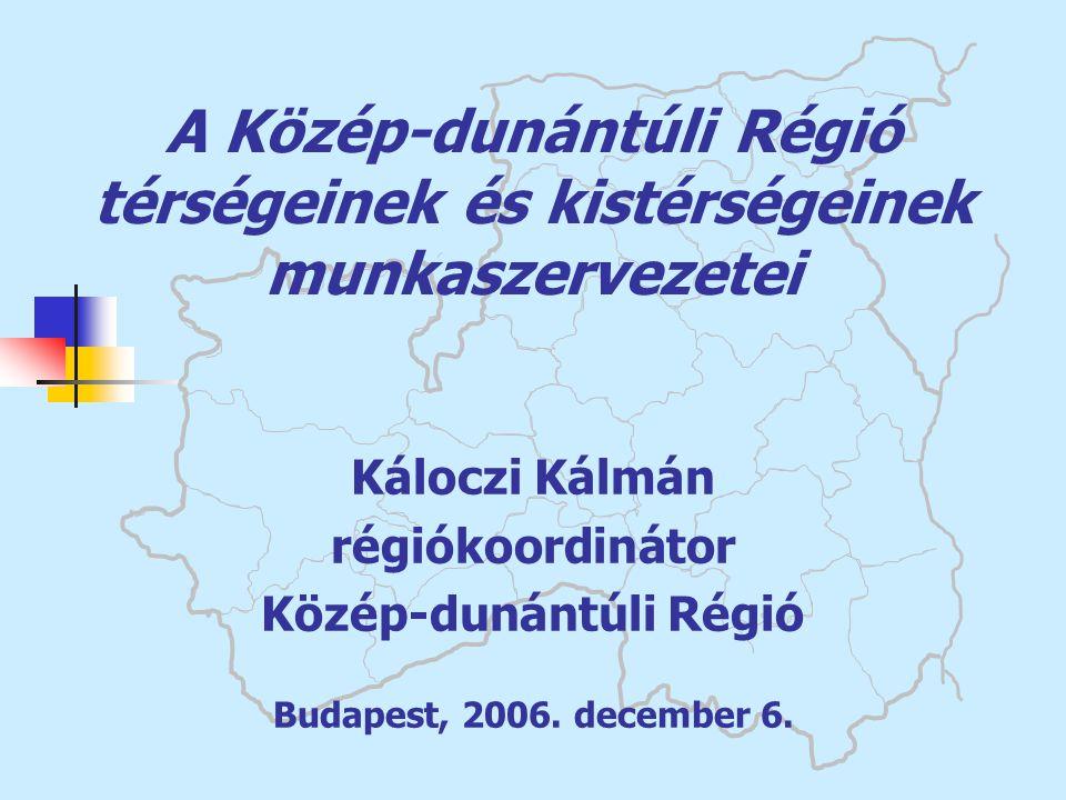 A Közép-dunántúli Régió térségeinek és kistérségeinek munkaszervezetei