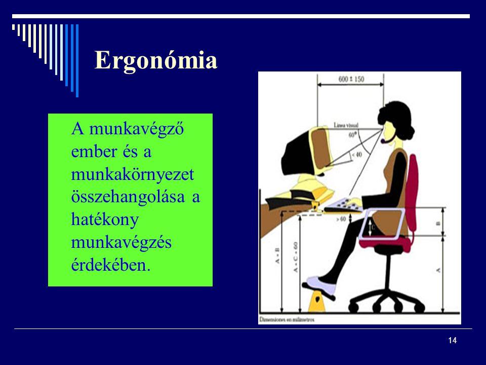 Ergonómia A munkavégző ember és a munkakörnyezet összehangolása a hatékony munkavégzés érdekében.