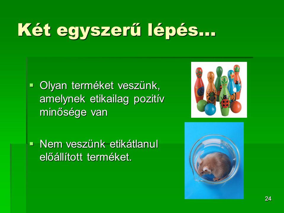 Két egyszerű lépés... Olyan terméket veszünk, amelynek etikailag pozitív minősége van.