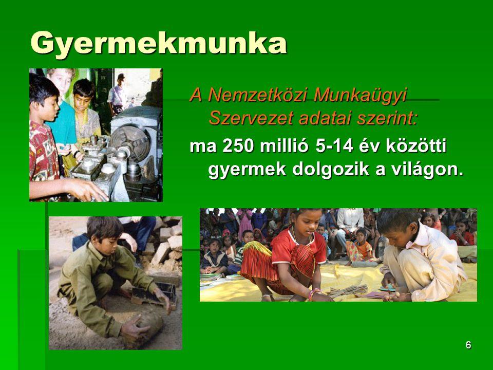 Gyermekmunka A Nemzetközi Munkaügyi Szervezet adatai szerint: