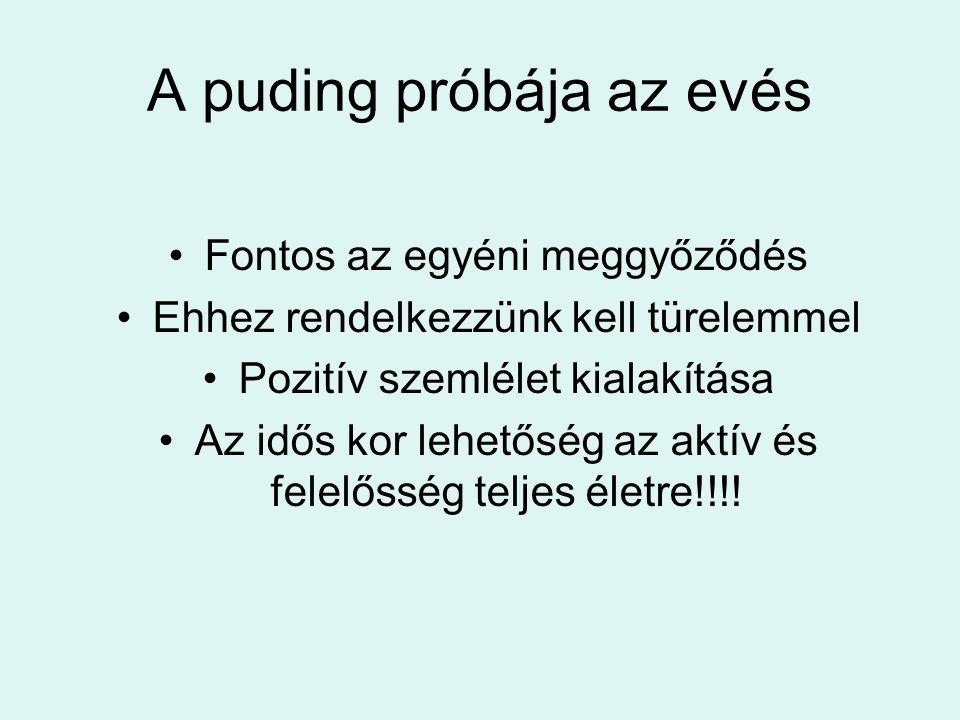 A puding próbája az evés