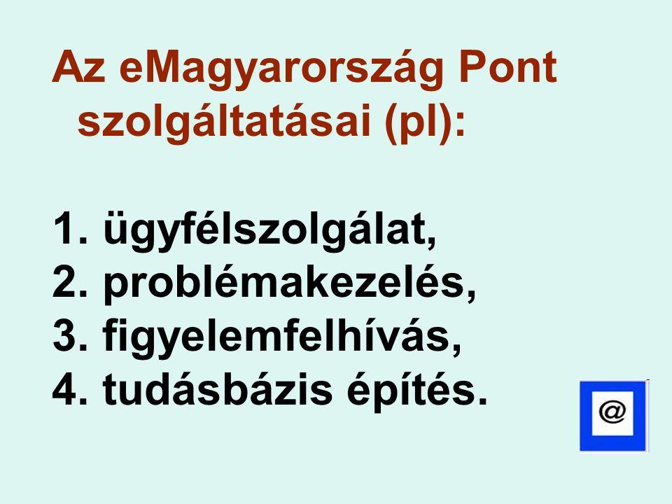 Az eMagyarország Pont szolgáltatásai (pl):