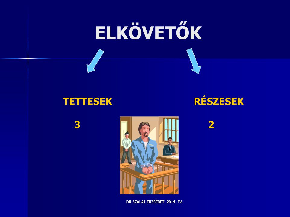 ELKÖVETŐK TETTESEK RÉSZESEK 3 2 DR SZALAI ERZSÉBET 2014. IV.
