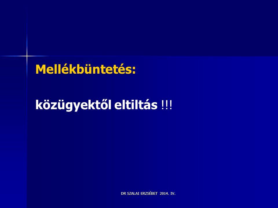 Mellékbüntetés: közügyektől eltiltás !!! DR SZALAI ERZSÉBET 2014. IV.