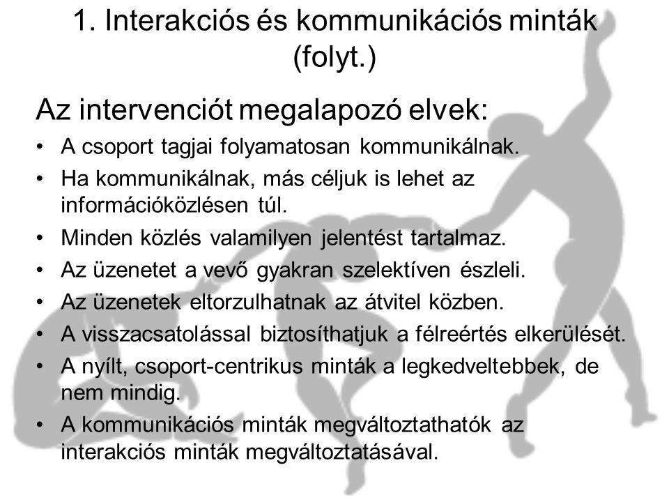 1. Interakciós és kommunikációs minták (folyt.)