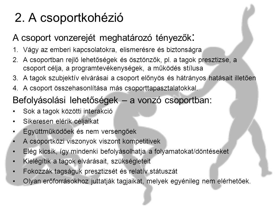 2. A csoportkohézió A csoport vonzerejét meghatározó tényezők: