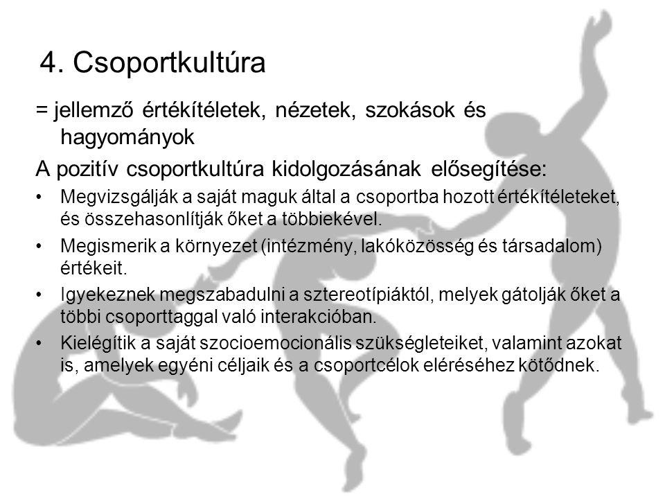 4. Csoportkultúra = jellemző értékítéletek, nézetek, szokások és hagyományok. A pozitív csoportkultúra kidolgozásának elősegítése:
