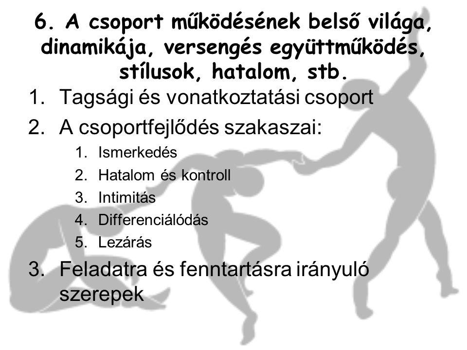 Tagsági és vonatkoztatási csoport A csoportfejlődés szakaszai: