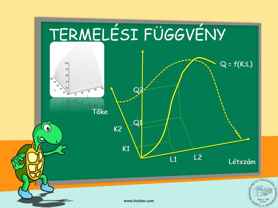 TERMELÉSI FÜGGVÉNY Q = f(K;L) Q2 Tőke Q1 K2 K1 L2 L1 Létszám