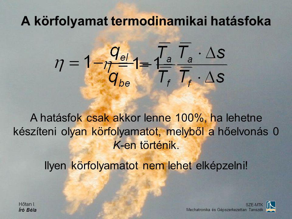 A körfolyamat termodinamikai hatásfoka