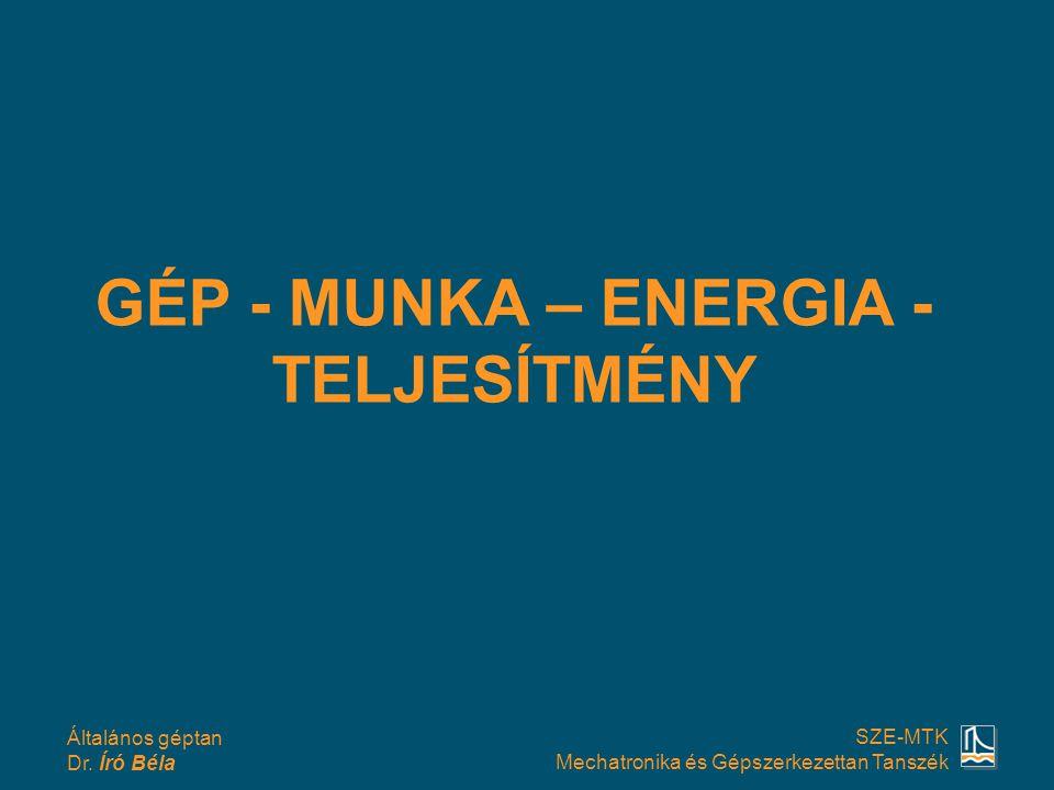 GÉP - MUNKA – ENERGIA - TELJESÍTMÉNY