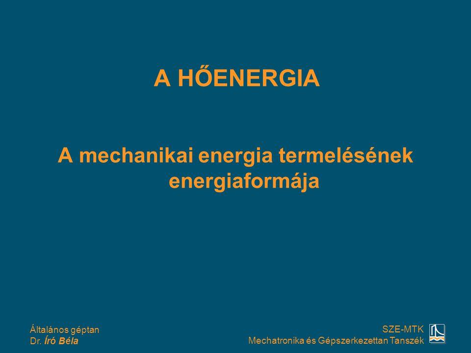 A mechanikai energia termelésének energiaformája