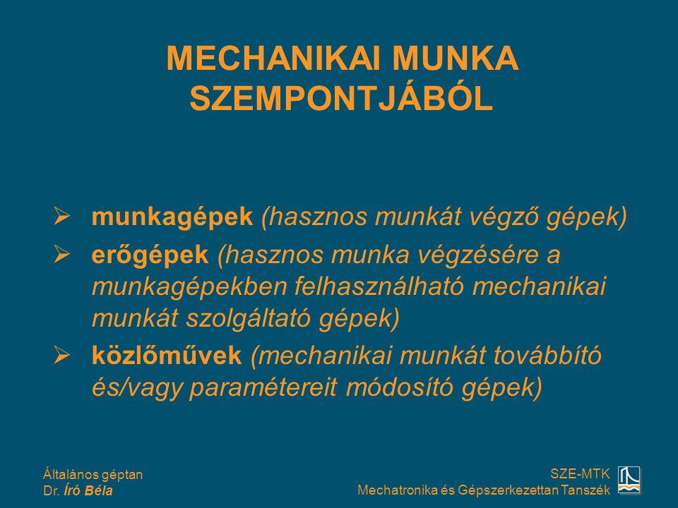 MECHANIKAI MUNKA SZEMPONTJÁBÓL