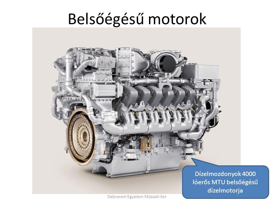 Belsőégésű motorok Dízelmozdonyok 4000 lóerős MTU belsőégésű dízelmotorja.