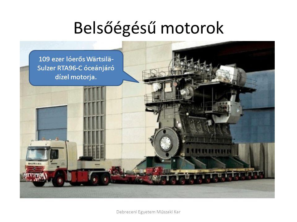 Belsőégésű motorok 109 ezer lóerős Wärtsilä-Sulzer RTA96-C óceánjáró dízel motorja.