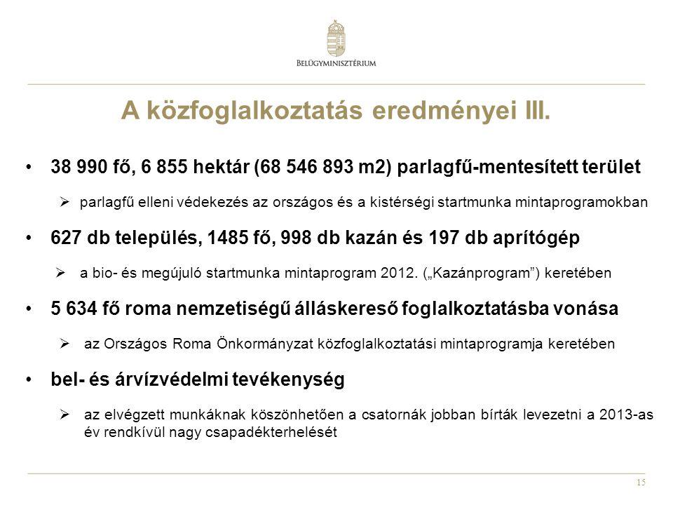 A közfoglalkoztatás eredményei III.