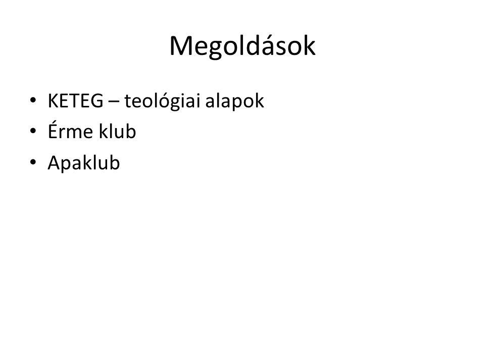 Megoldások KETEG – teológiai alapok Érme klub Apaklub