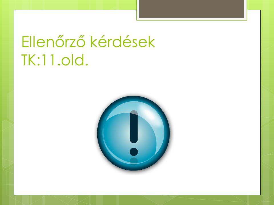 Ellenőrző kérdések TK:11.old.
