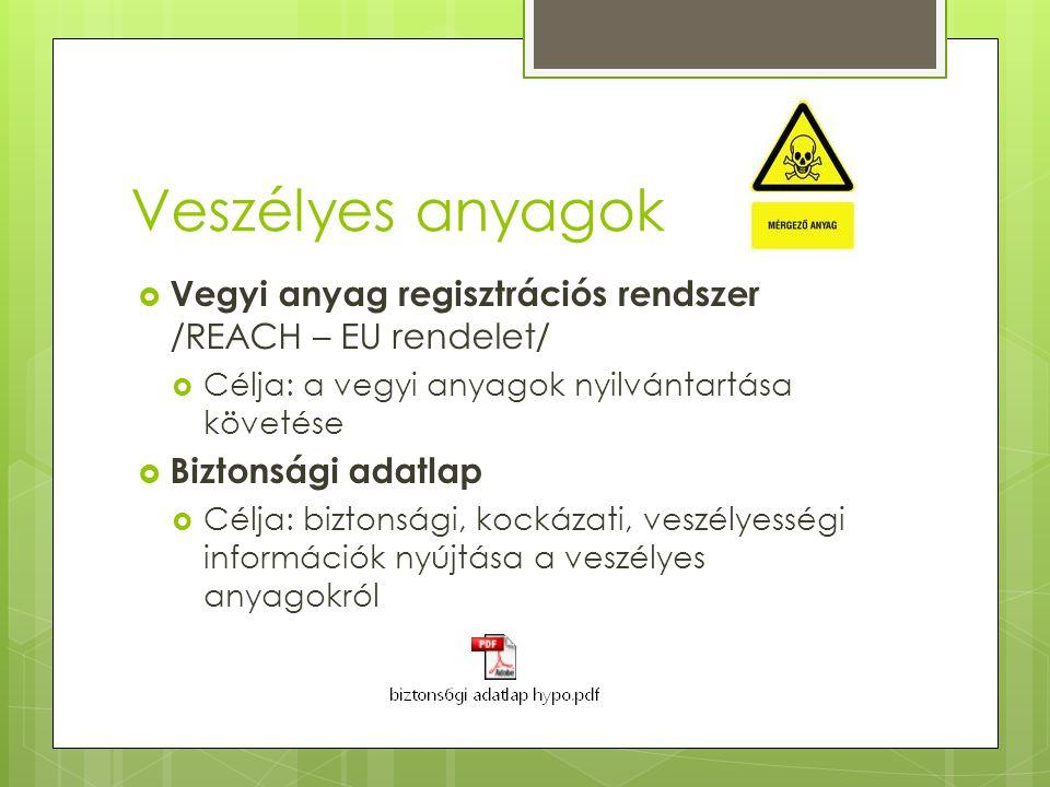 Veszélyes anyagok Vegyi anyag regisztrációs rendszer /REACH – EU rendelet/ Célja: a vegyi anyagok nyilvántartása követése.