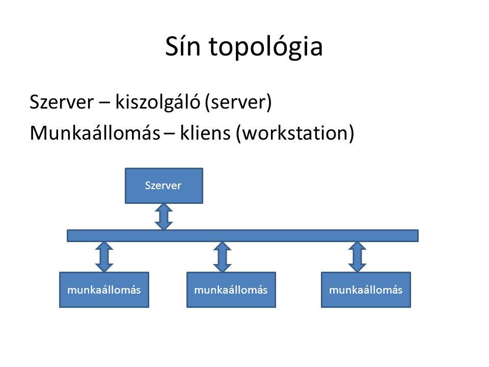 Sín topológia Szerver – kiszolgáló (server) Munkaállomás – kliens (workstation) Szerver. munkaállomás.