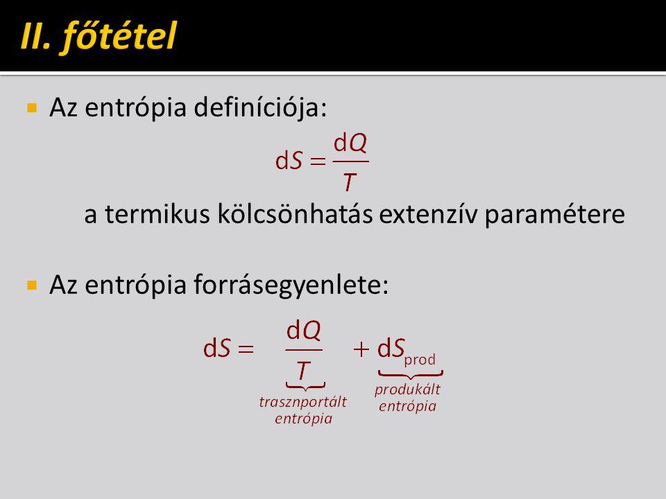 II. főtétel Az entrópia definíciója: