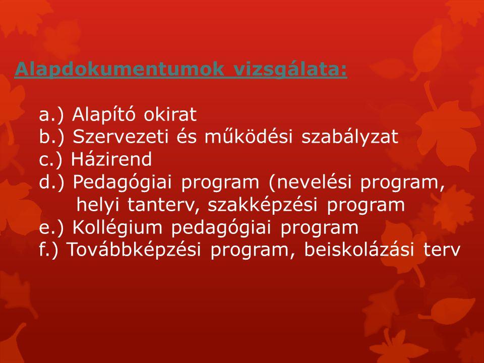Alapdokumentumok vizsgálata:. a. ) Alapító okirat. b