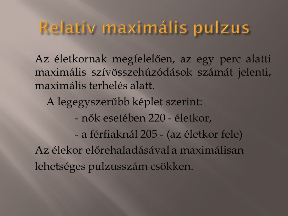 Relatív maximális pulzus