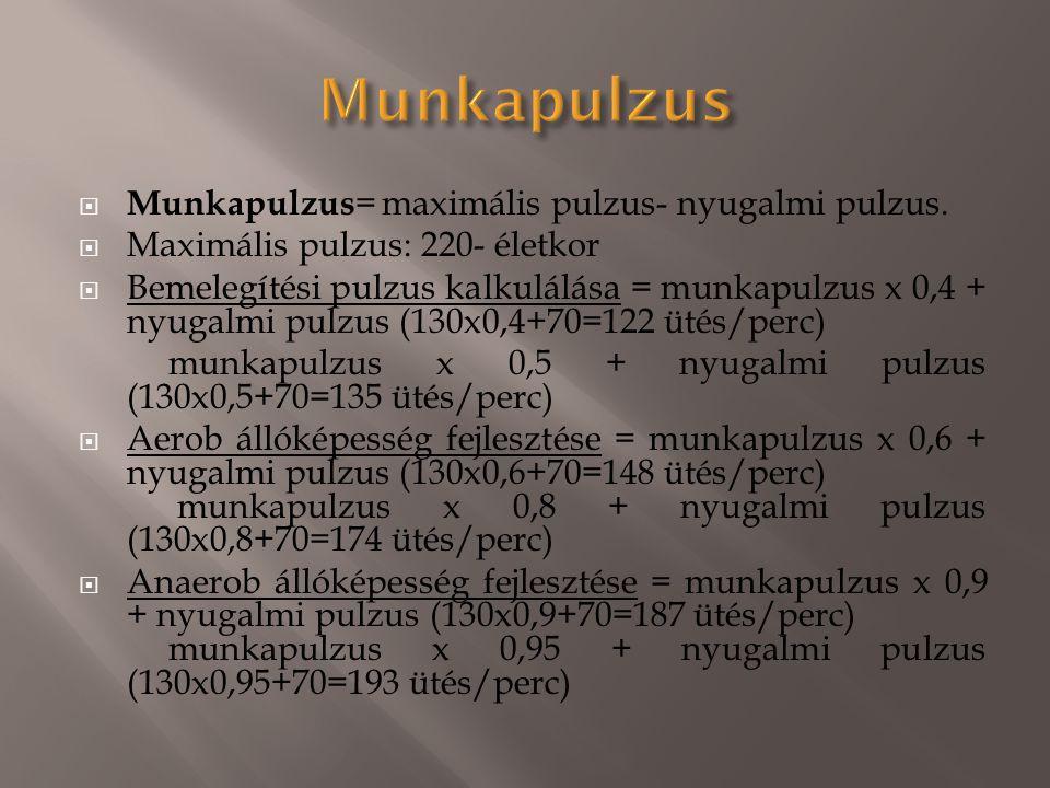 Munkapulzus Munkapulzus= maximális pulzus- nyugalmi pulzus.