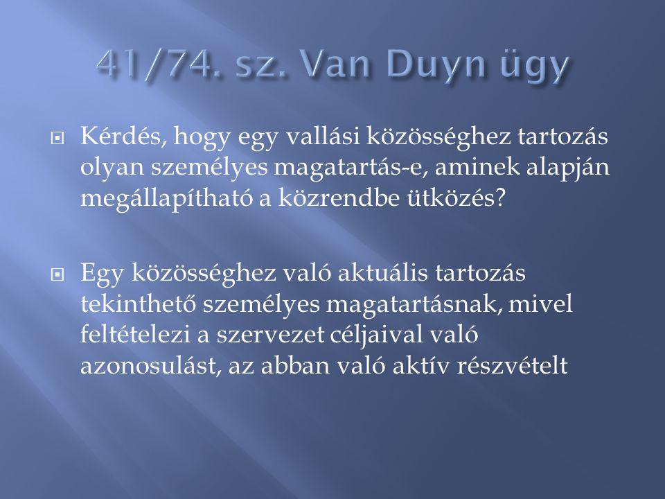 41/74. sz. Van Duyn ügy