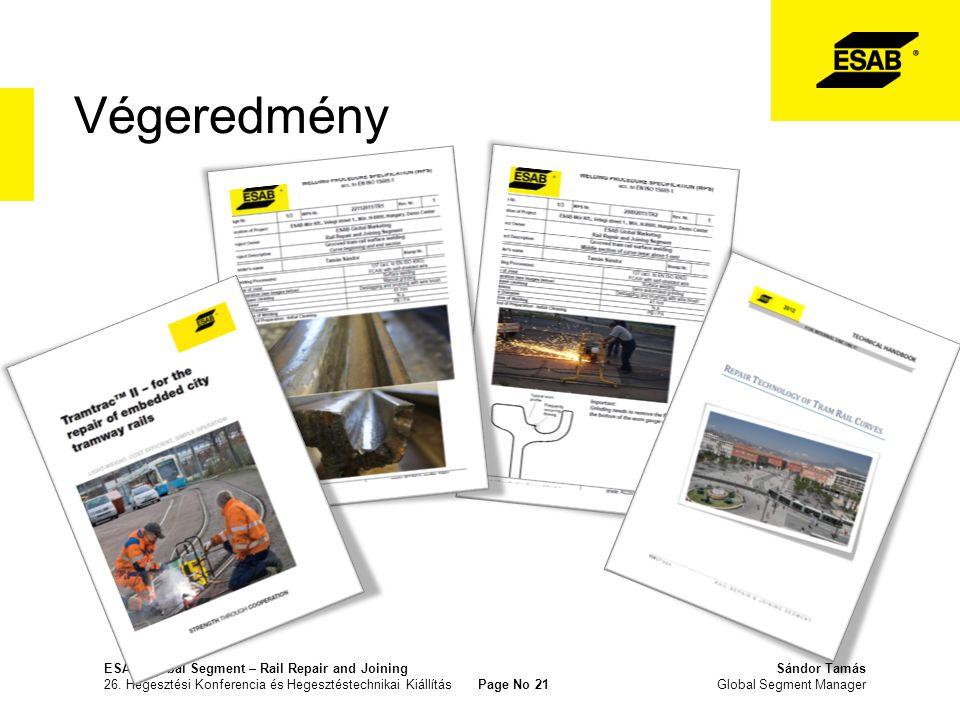 Végeredmény ESAB Global Segment – Rail Repair and Joining Sándor Tamás