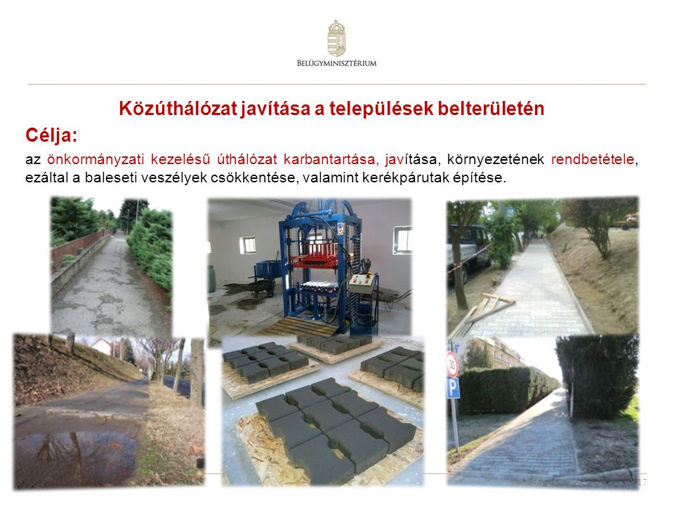 Közúthálózat javítása a települések belterületén
