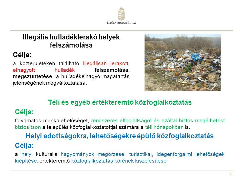 Illegális hulladéklerakó helyek felszámolása Célja: