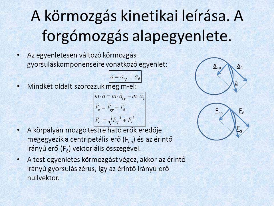 A körmozgás kinetikai leírása. A forgómozgás alapegyenlete.
