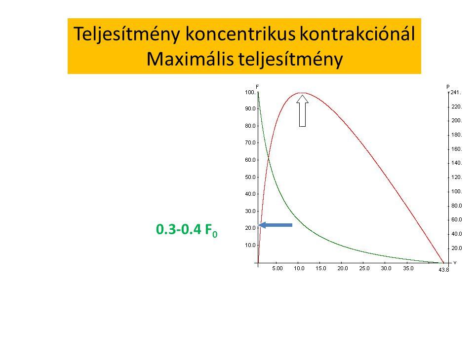 Teljesítmény koncentrikus kontrakciónál Maximális teljesítmény