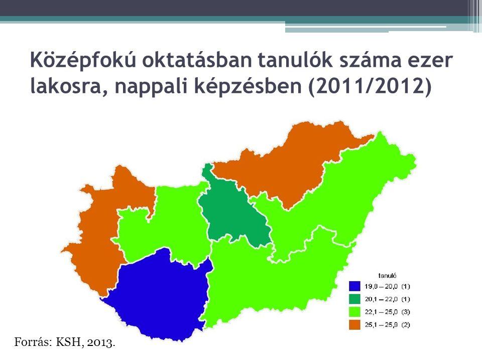 Középfokú oktatásban tanulók száma ezer lakosra, nappali képzésben (2011/2012)