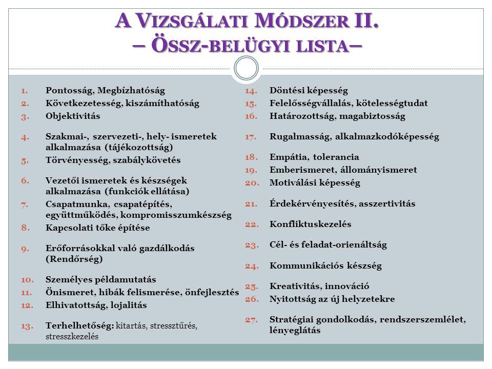 A Vizsgálati Módszer II. – Össz-belügyi lista–