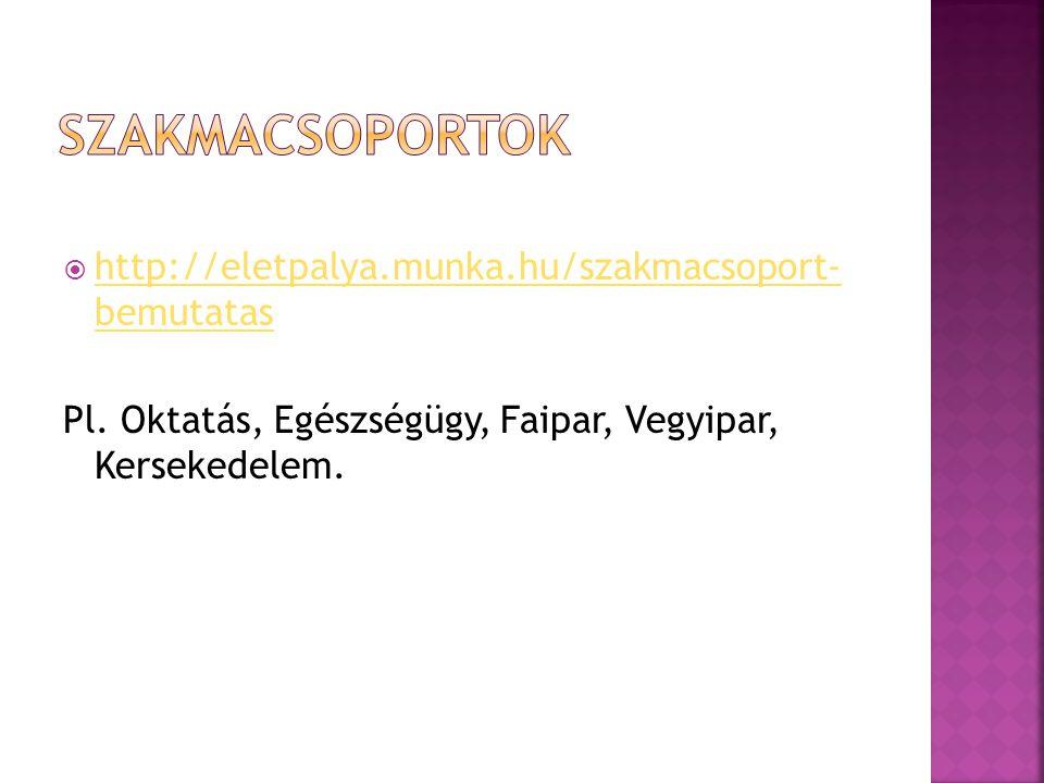 Szakmacsoportok http://eletpalya.munka.hu/szakmacsoport- bemutatas