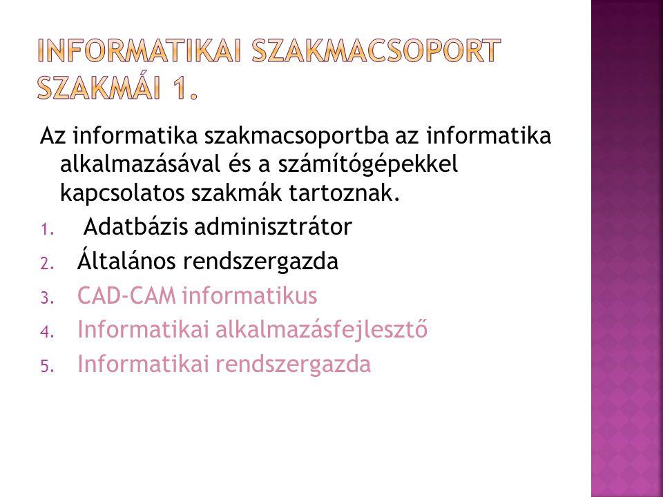 Informatikai szakmacsoport szakmái 1.