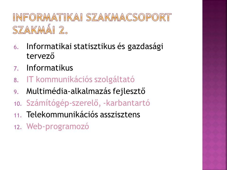 Informatikai szakmacsoport szakmái 2.