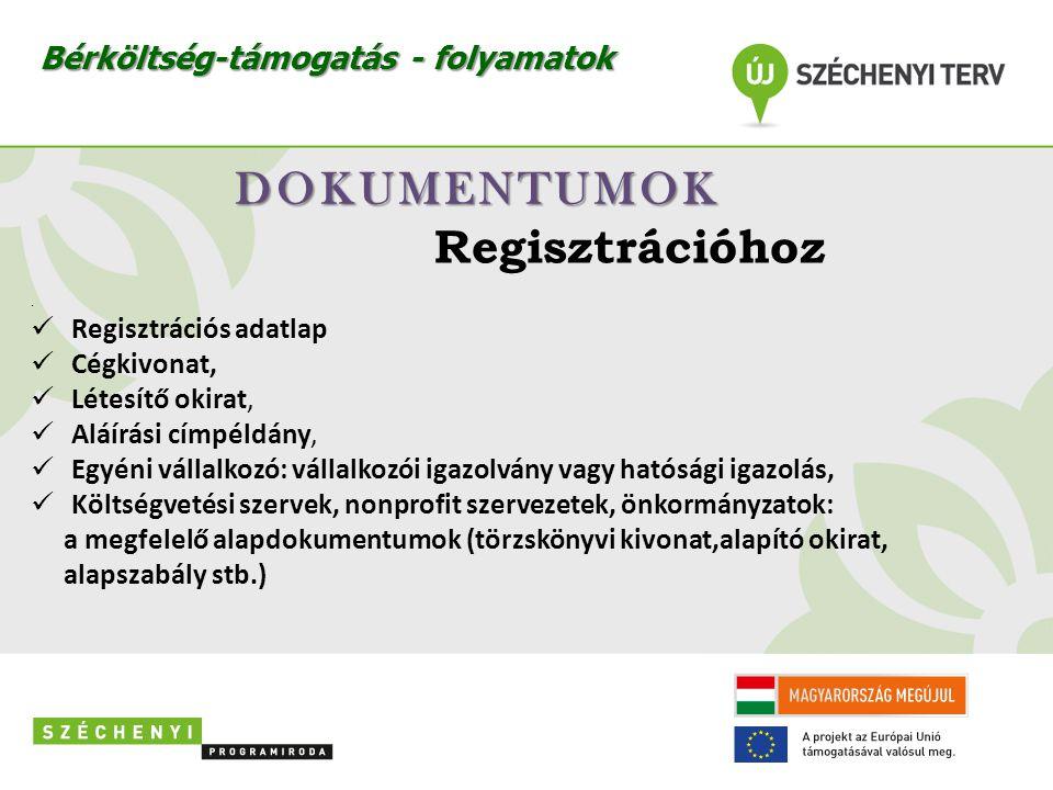 DOKUMENTUMOK Regisztrációhoz Bérköltség-támogatás - folyamatok