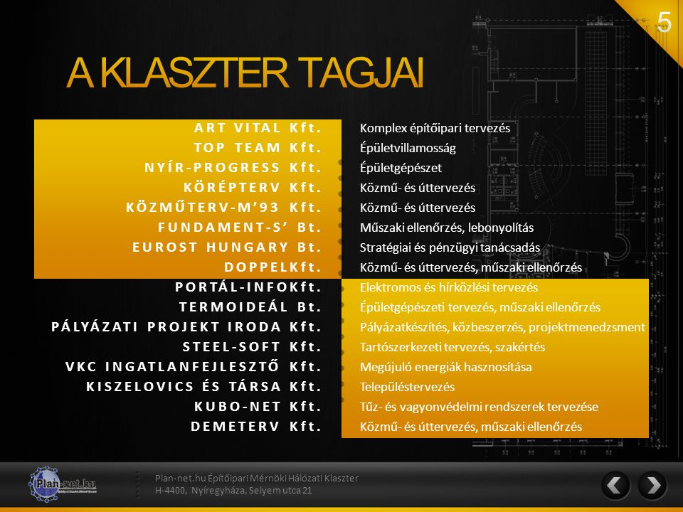 A KLASZTER TAGJAI ART VITAL Kft. TOP TEAM Kft. NYÍR-PROGRESS Kft.
